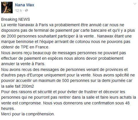 annulation vente nanawax