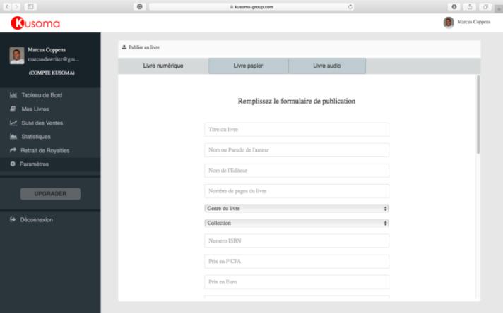 Formulaire de publication d_un livre ebook - papier - audio à la Librairie Kusoma
