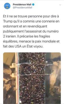 tweet supprimé Presidence Mali